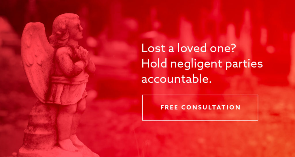 "A statue of an angel with the text ""Lost a loved one? Hold negligent parties accountable"" superimposed"