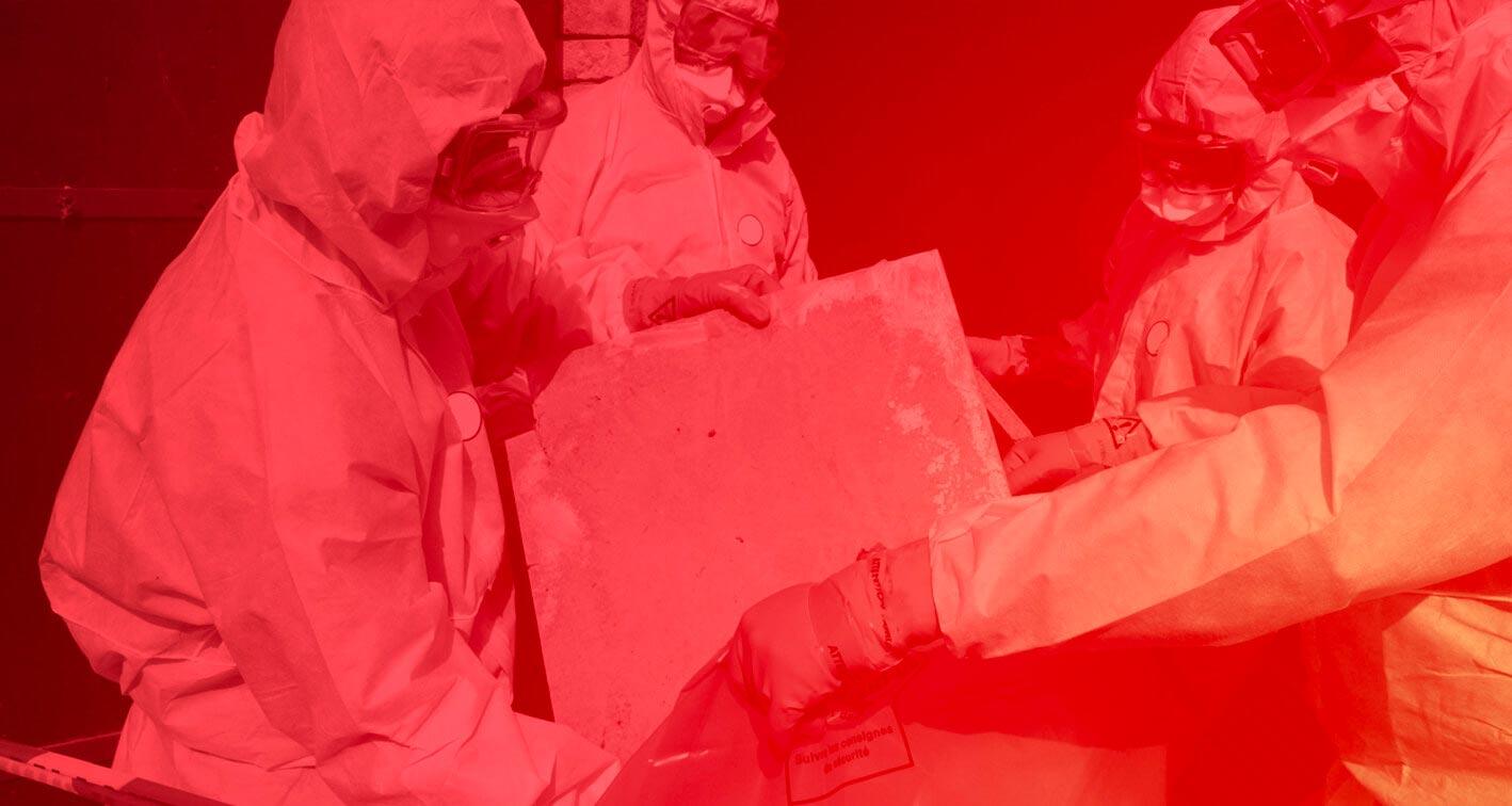 workers clearing asbestos