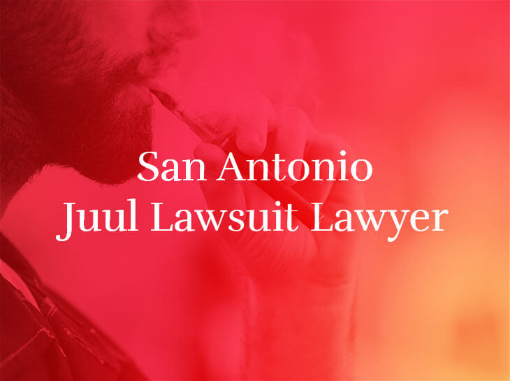 "A man smoking a vape pen with the text ""San Antonio Juul Lawsuit Lawyer"" superimposed"