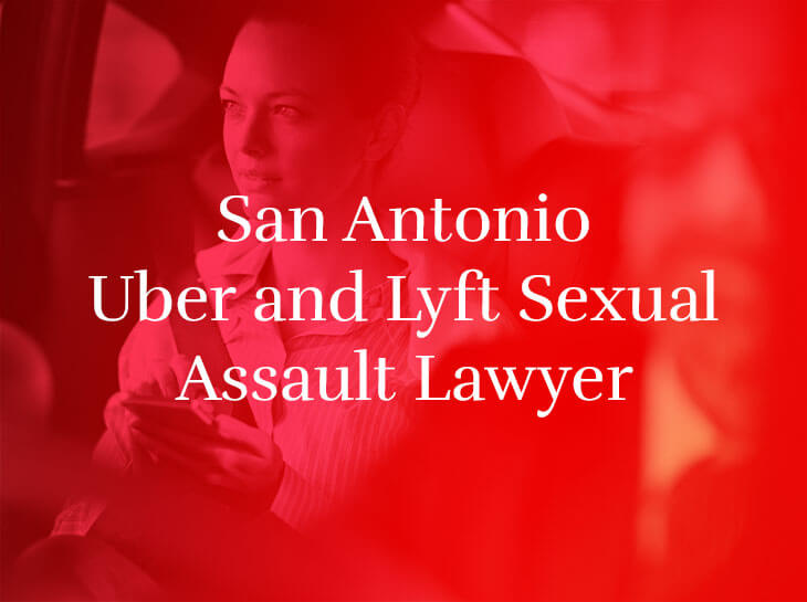 """A woman in the passenger seat of a vehicle with the text """"San Antonio Uber and Lyft Sexual Assault Lawyer"""" superimposed"""