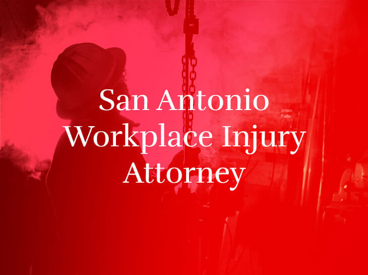 "A construction worker holding a chain with the text ""San Antonio Workplace Injury Attorney"" superimposed"